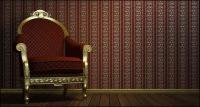 Stühle und Kronleuchter-Bildmaterial