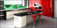 ファッション トーン赤いキッチン写真素材