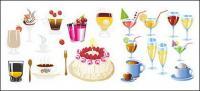 Bebidas y pastel de material de vectores