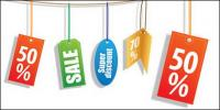 Vetor de rótulo do material decorativo de vendas de desconto