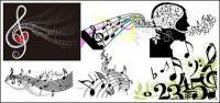 Variedade de notas da música tema de vetor material