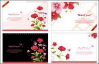 Material de vetor de modelo de cartão de flores