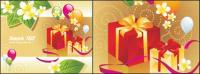 Tarjetas de regalo de globo vector materiales hojas