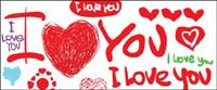 Les polices Valentine�� Day vecteur matériel anglais peint à la main