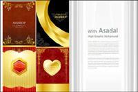 Золото Valentine��Day открыток шаблон векторного материала