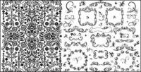 Praktis renda hitam dan putih pola vektor bahan