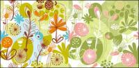 아름 다운 꽃과 식물 소재 벡터