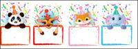 Material de tablón de anuncios de vacaciones animal vector