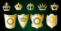 พระมหากษัตริย์และโล่ทอง vector วัสดุ
