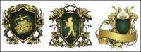 Matériau vecteur de ruban magnifique européen bouclier patron