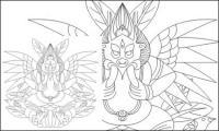 麗江なし族の神の大きな鳥のベクター素材