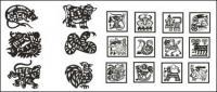 Zodíaco de material de corte de papel vector (4)