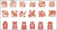 Zodiac de material de papel cortado vector (2)