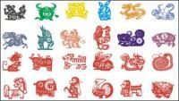 Zodiac de material de papel cortado vector (1)