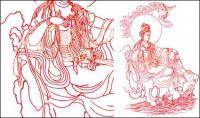 Material de vetor de desenho de linha Guanyin Bodhisattva