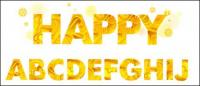 黄色の秋文字素材をベクトルします。