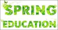 Primavera letras verdes material Vector