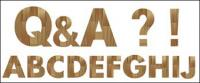 シンプルな木製アルファベットのベクター素材