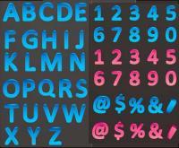 色立体文字と数字のベクター素材