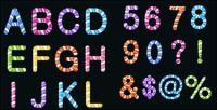 お菓子の色付きの文字と数字素材をベクトルします。