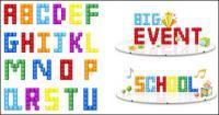Material de vetor de letras e números de Tetris