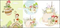 Viajar material tema sonho crianças pintura Vector