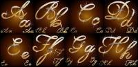 輝く金属の材料の手書きの文字ベクトル