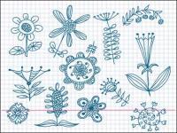 Bonitos flores pouco pintado vector material