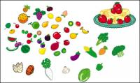 Legumes e frutas adoráveis vector material