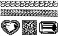 Cadena de realista oro y plata - gem diamond Vector