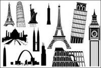 Edificios famosos extranjeros vector de material