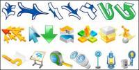さまざまな矢印と他の材料の 3 つのベクトル