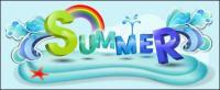 Musim panas tema vektor font desain bahan