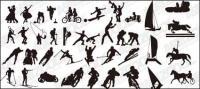 เวกเตอร์ silhouettes ของวัสดุการกระทำการกีฬาต่าง ๆ -2