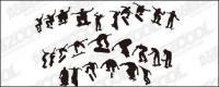 Skateboarding รูป silhouettes vector วัสดุ