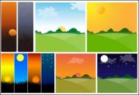 Material de vector tema Sunset