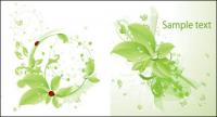 Вектор ladybird зеленых листьев материал падает