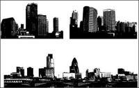 黒と白の都市の建築ベクトル材料