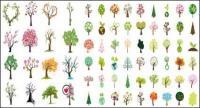 さまざまな木のベクター素材