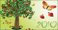 2010 カレンダー テンプレート ベクトル ツリー素材の蝶テーマ