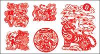Vecteur chinois papier de coupe