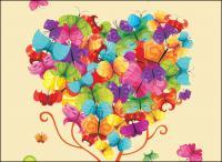 Colorido Vector de mariposa compuesta de árboles