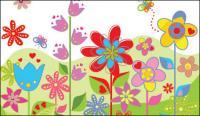 Fleurs colorées Lovely vecteur