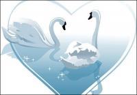 심장-모양의 하얀 백조 벡터 자료의