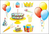 The balloon cake gift ribbons vector of material