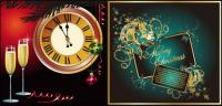 Champagne clock butterfly elements such as vector of material