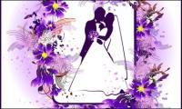 Vector de encaje de tema de matrimonio de material