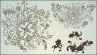 Рисования линий цветочный узор векторов материала