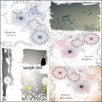 Vetor flores e borboletas de material