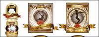Continental subiu material de vetor de ouro rótulo